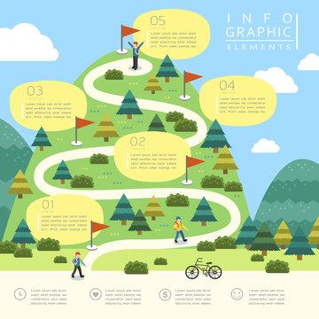 mountain hiking infographic design