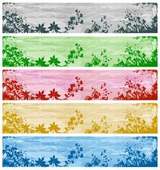 Fototapete - Ensemble 5 Bannières / Headers - Motif Floral Végétal Feuillage et Herbes Rouge Vert Bleu Jaune Gris