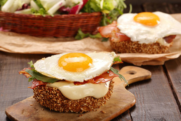 Sandwich with cheese bacon and fried egg