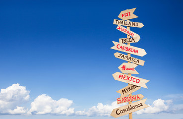 Direction to different places of the world, travel concept