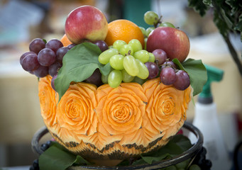 Russian Federation. Belgorod region. Art carving on fruits and vegetables.