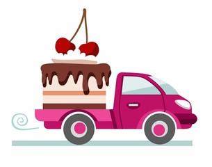 Cakes, pastries, delivery, coloured picture.