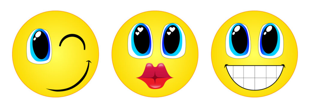 Three emoticons. Wink, kiss and smile.