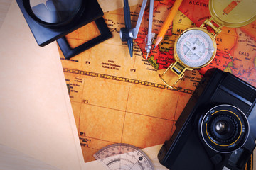 Travel , trip vacation, tourism mock up close-up on vintage map.