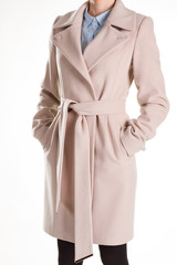 Cashmere coat and cotton shirt.