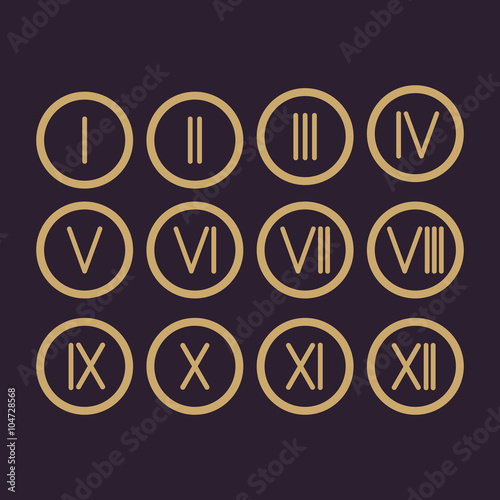 """Set Roman numerals 1-12 icon"" Stock image and royalty ..."