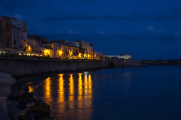 Syracuse, nocturnal view of Syracuse, Sicily, Italy