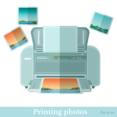 Flat photo printer with photoe icon isolated on white