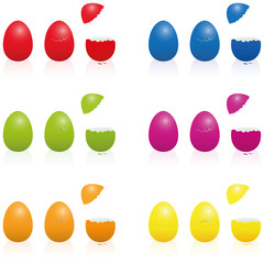 Easter eggs - fillable cracked packing in various vibrant colors. Three-dimensional isolated vector illustration over white.