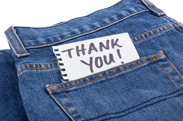thank you notes in jean pocket