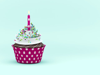 sweet cupcake with candleover light blue background