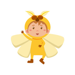 Child Wearing Costume of Yellow Butterfly. Vector Illustration