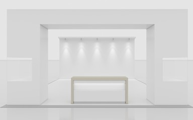 white exhibition stand front 3d Rendering