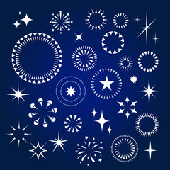 Starburst, stars and sparkles burst icons set