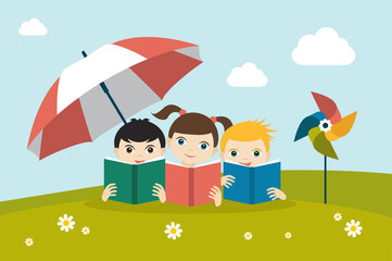 Little cute group of three children reading a books sitting on the grass under sun umbrella. Holiday concept. Flat vector.