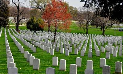 Arlington, Virginia:  Row upon row of military gravesites at Arlington National Cemetery *