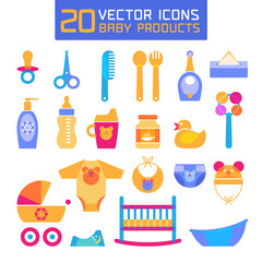 Vector illustration of baby products. Icons for newborns