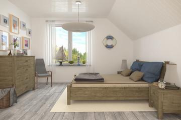 Maritimes Schlafzimmer, Ferienwohnung Im Dachgeschoss