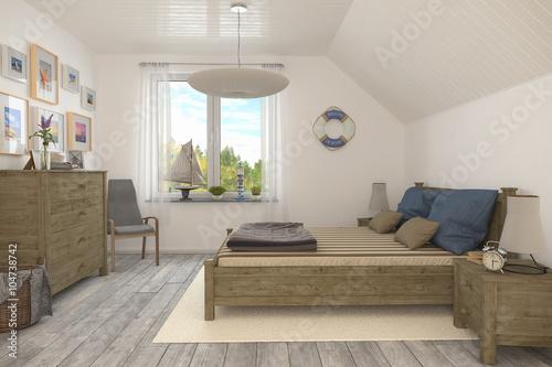 Maritimes schlafzimmer ferienwohnung im dachgeschoss stockfotos und lizenzfreie bilder auf - Maritimes schlafzimmer ...