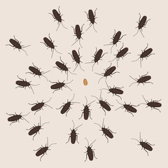 A creative illustration of hunting cockroaches
