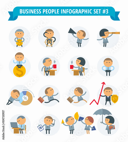 Vector flat infographic elements set. Professions people icon set ...