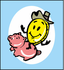 cartoon coin riding a pig piggy Bank as a symbol of financial success