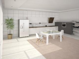 Modern kitchen in minimalist style.