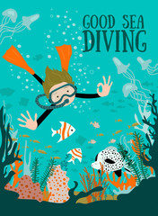 Scuba divers under water. Vector illustration.