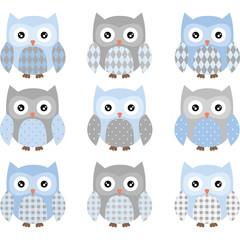 Blue and Grey Cute Owl