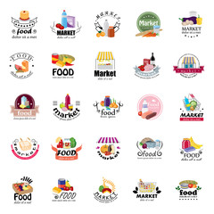 Food And Market Icons Set-Isolated On White Background:Vector Illustration,Graphic Design.For Web,Websites,Print, App,Presentation Templates,Mobile Applications And Promotional Materials.Shopping Tag