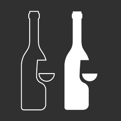 Wine sampling icon - bottle and glass silhouette