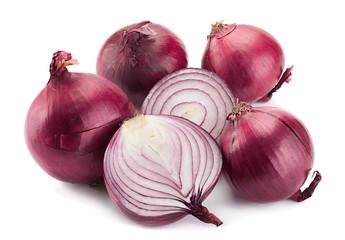 Purple onion on white
