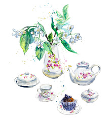 Spring Tea Time. Flowers of a bird cherry and bilberry cake. Invitation to tea drinking. Watercolor hand drawn illustration.