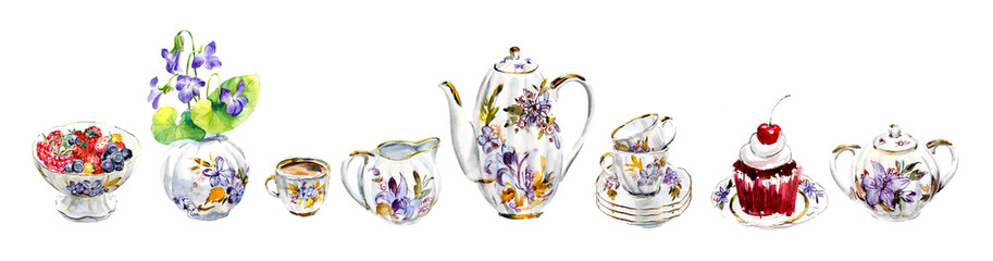 Tea and coffee service. Set of beautiful porcelain. Water color hand drawn illustration. Collection utensil.