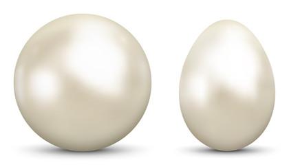 3D Vector Kugel und Ei - Sphäre und Oval isoliert auf reinem Weiß - Weißer Hintergrund - Freigestellt mit Schatten.