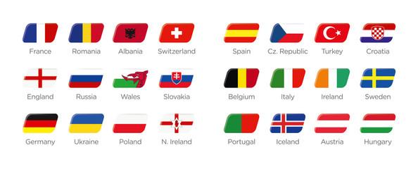 Moderne Symbole Rechteck der Euro Teilnehmer in Frankreich 2016