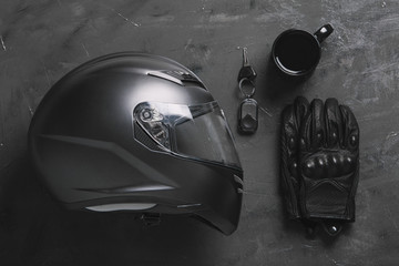 Flat Lay Composition with Motorbike Objects