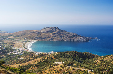 Plakias village and Plakias beach. Crete island, Greece.  Plakias is a village on the south coast of the Greek island of Crete, in the Rethymno regional unit.