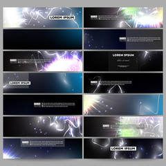Set of modern banners. Electric lighting effect. Magic vector background with lightning.