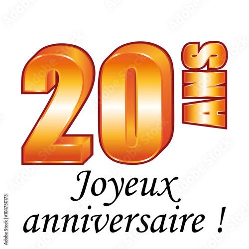 20 Ans Carte De Vœux Joyeux Anniversaire Fichier Vectoriel Libre
