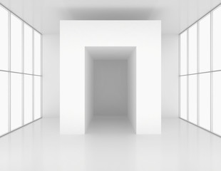 Room with windows and white columns. 3d render