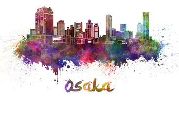 Osaka skyline in watercolor