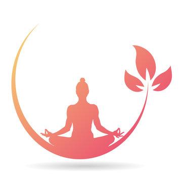 Yoga-Icon - Meditation (in tropischen Farben)