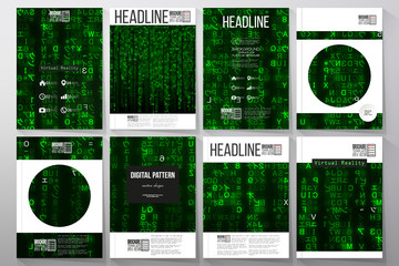 Set of business templates for brochure, flyer or booklet. Virtual reality, abstract technology background with green symbols, vector illustration