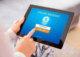 Online banking on tablet computer