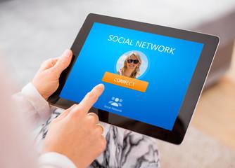 Social network website on tablet computer