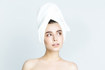 beautiful woman with white towel on his head. Spa Woman. Beautiful Girl After Bath. Perfect Skin. Skincare. Young Skin