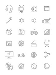 Vector black multimedia icons set
