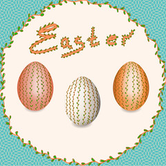 Easter. Easter eggs. Christ is Risen.  Easter eggs with floral pattern.