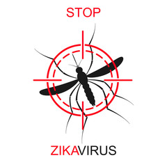 Zika mosquito vector. Virus alert. Aedes Aegypti isolated on white background